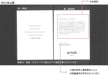 正規品証明書 / Artek (アルテック)