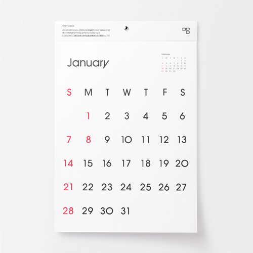 Typeface Calender