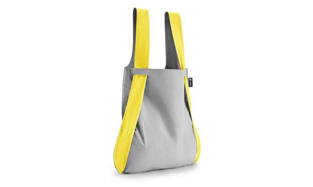 持ち手が黄色で本体がグレーのノットアバッグ