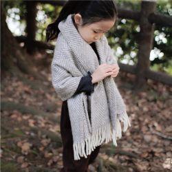 MARIA・マリア キッズ ポケットショール / グレー×ホワイト