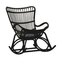 クーポン対象 ラタン ロッキングチェア Monet / ブラック  (Sika Design)