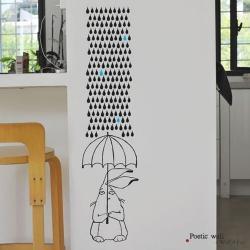 【アウトレット】 ウォールシール ・ 傘をさすウサギ