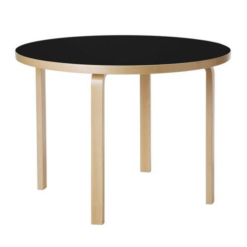 テーブル90A / ブラックリノリウム φ100×H72cm (Artek / アルテック)