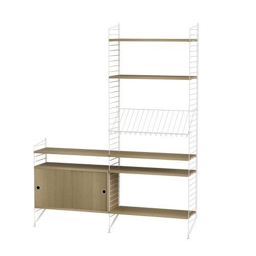 キャビネット+フロアパネル W160×D30×H200cm / ウッド (String Bundles Living / ..by String Furniture)