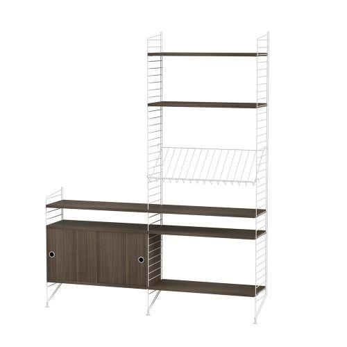 キャビネット+フロアパネル W160×D30×H200cm / ウォルナット (String Bundles Living / ..by String Furniture)