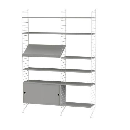 キャビネット+フロアパネル W140×D30×H200cm / MDF (String Bundles Living / ..by String Furniture)