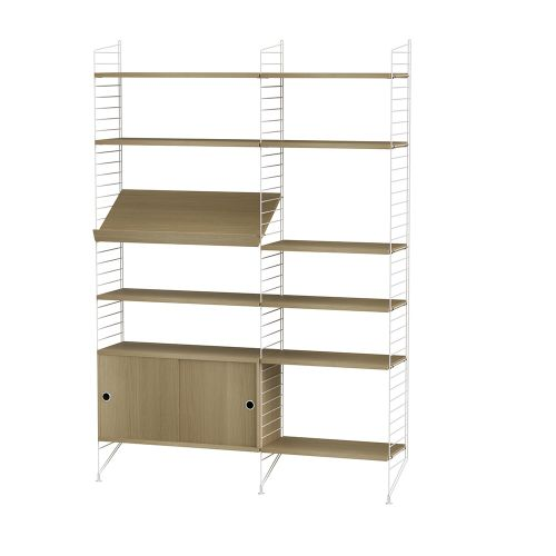 キャビネット+フロアパネル W140×D30×H200cm / ウッド (String Bundles Living / ..by String Furniture)