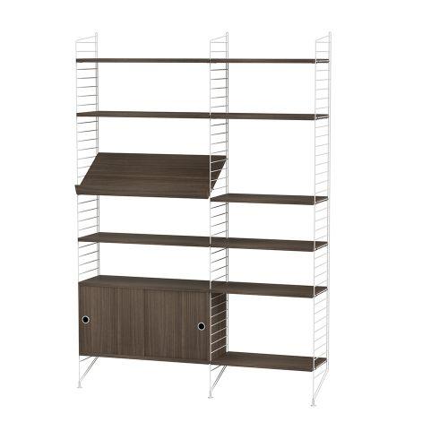 キャビネット+フロアパネル W140×D30×H200cm / ウォルナット (String Bundles Living / ..by String Furniture)