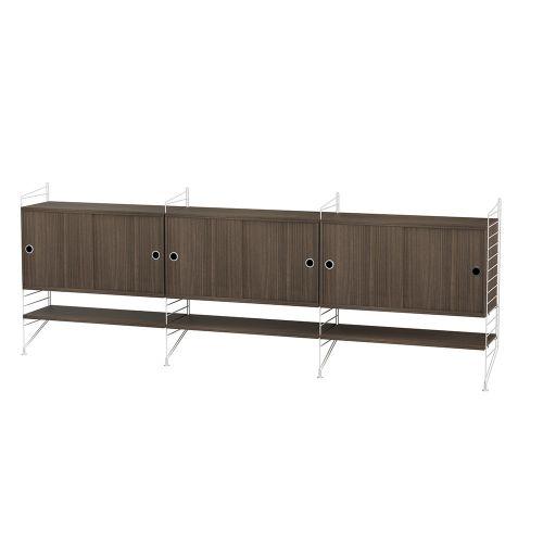 キャビネット+フロアパネル W240×D30×H85cm / ウォルナット (String Bundles Living / ..by String Furniture)