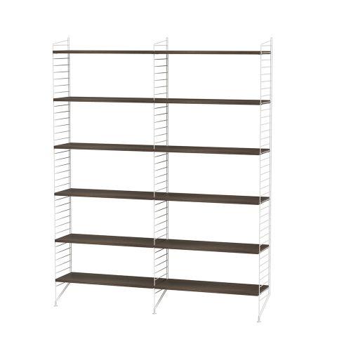 シェルフ+フロアパネル W120×D30×H200cm / ウォルナット (String Bundles Living / ..by String Furniture)