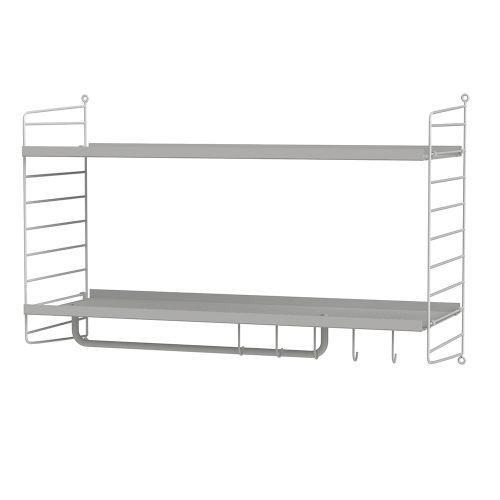 メタルシェルフ+ウォールパネル W80×D30×H50cm (String Bundles Hallway / ..by String Furniture)