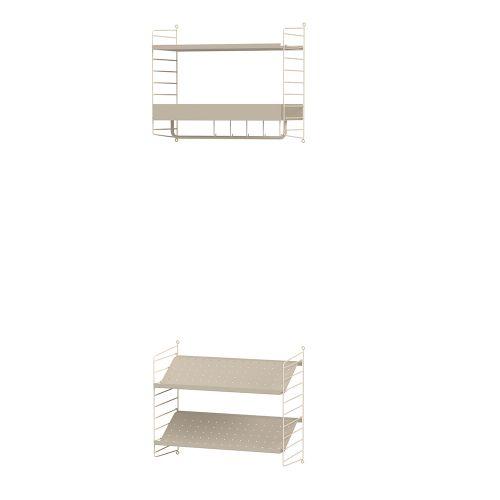 メタルシェルフ+シューズラック W60×D30×H50cm×2 (String Bundles Hallway / ..by String Furniture)