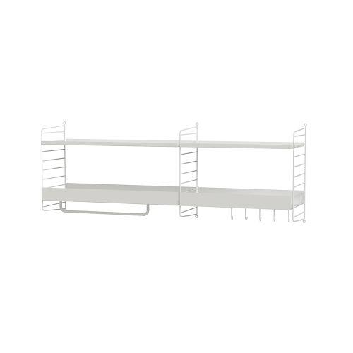 メタルシェルフ+ウォールパネル W140×D30×H50cm (String Bundles Hallway / ..by String Furniture)