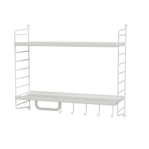 メタルシェルフ+ウォールパネル W60×D20×H50cm (String Bundles Powder Room / ..by String Furniture)