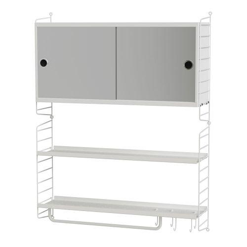 ミラーキャビネット+ウォールパネル W80×D20×H100cm (String Bundles Powder Room / ..by String Furniture)