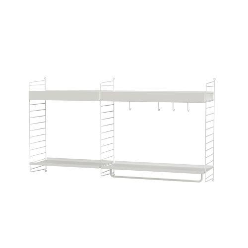 メタルシェルフ+ウォールパネル W140×D30×H75cm (String Bundles Kitchen / ..by String Furniture)