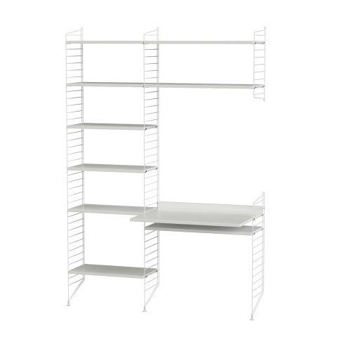 デスク+シェルフ W140×D60×H200cm / MDF (String Bundles Work Space / ..by String Furniture)