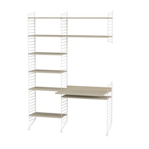 デスク+シェルフ W140×D60×H200cm / ウッド (String Bundles Work Space / ..by String Furniture)