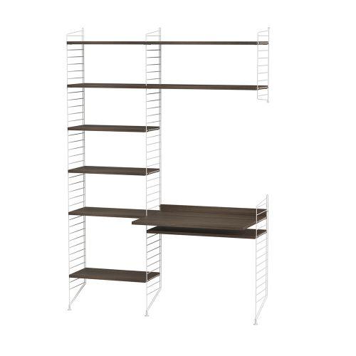 デスク+シェルフ W140×D60×H200cm / ウォルナット (String Bundles Work Space / ..by String Furniture)