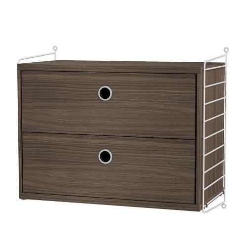 チェスト+ウォールパネル W60×D30×H50cm / ウォールナット (String Bundles bed room / ..by String Furniture)