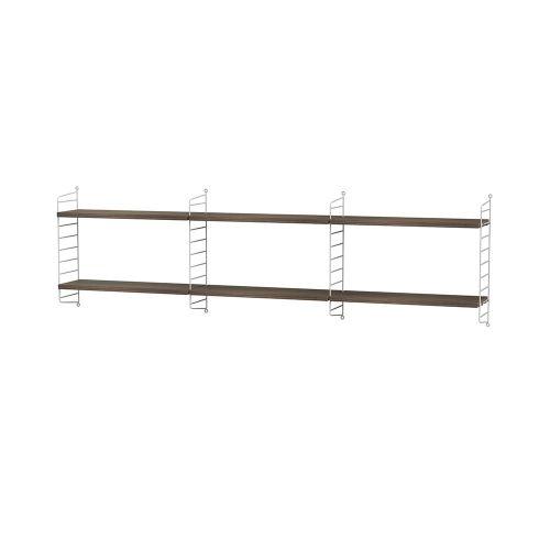 シェルフ+ウォールパネル W180×D20×H50cm / ウォールナット (String Bundles bed room / ..by String Furniture)