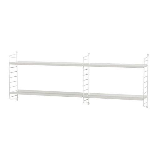 メタルシェルフ+ウォールパネル W140×D20×H50cm (String Bundles kids room / ..by String Furniture)