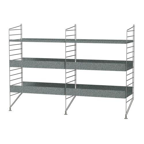 シェルフ+フロアパネル W120×D30×H85cm / ガルバナイズド (String Bundles outdoor / ..by String Furniture)