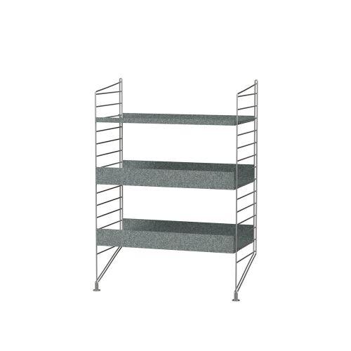 シェルフ+フロアパネル W60×D30×H85cm / ガルバナイズド (String Bundles outdoor / ..by String Furniture)