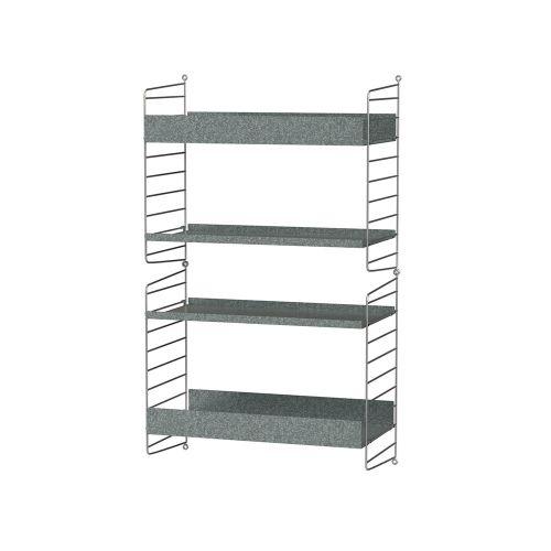 シェルフ+ウォールパネル W60×D30×H100cm / ガルバナイズド (String Bundles outdoor / ..by String Furniture)