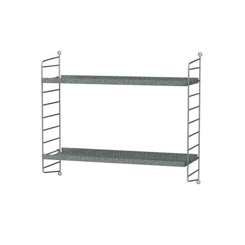 シェルフ+ウォールパネル W60×D20×H50cm / ガルバナイズド (String Bundles outdoor / ..by String Furniture)