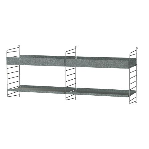 シェルフ+ウォールパネル W120×D30×H50cm / ガルバナイズド (String Bundles outdoor / ..by String Furniture)
