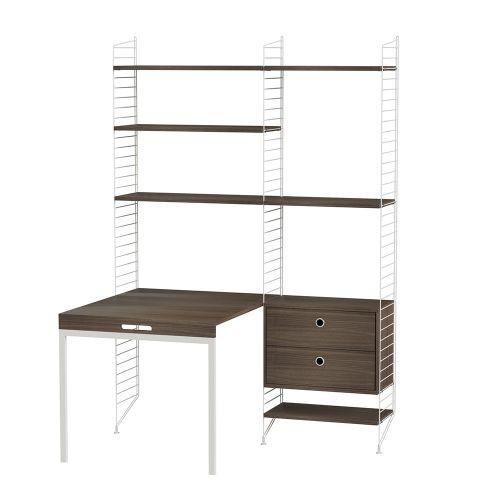 デスク+チェスト W140×D100×H200cm / ウォルナット (String Bundles Work Space / ..by String Furniture)