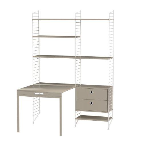 デスク+チェスト W140×D100×H200cm / MDF (String Bundles Work Space / ..by String Furniture)