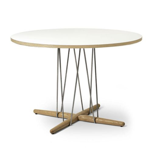 E020 エンブレイステーブル φ110cm ホワイト / オーク材 オイルフィニッシュ (Carl Hansen & Son / カールハンセン&サン)